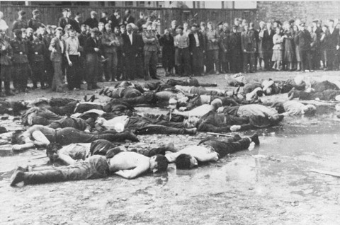 <p>Crowd views the aftermath of a massacre at Lietukis Garage, where pro-German Lithuanian nationalists killed more than 50 Jewish men. The victims were beaten, hosed, and then murdered with iron bars. Kovno, Lithuania, June 27, 1941.</p>