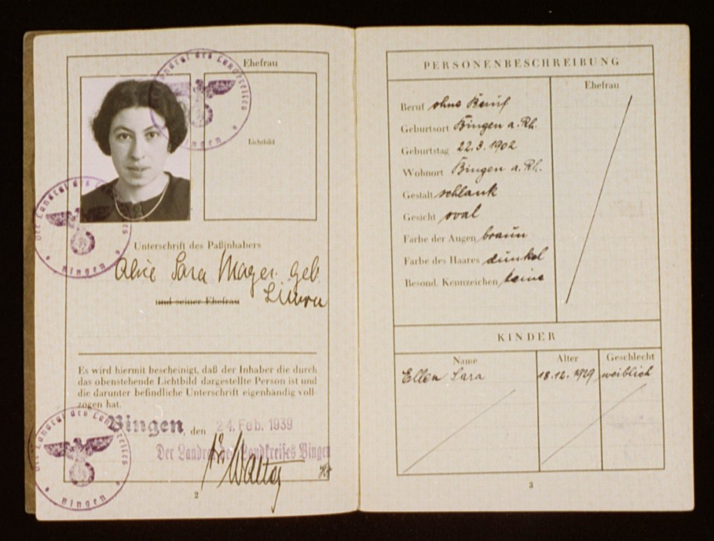 "<p>A German passport issued to Alice Mayer on February 24, 1939, in Bingen, Germany. Mayer's daughter, Ellen, is also listed on the passport. Both mother and daughter's names include the middle name ""Sara."" This middle name became a mandatory addition required by a law of August 17, 1938. Thereafter, all Jewish women in Germany with a first name of ""non-Jewish"" origin had to add ""Sara"" as a middle name on all official documents. Jewish men had to add the name ""Israel"". This enabled German officials to identify them as Jewish.</p>"