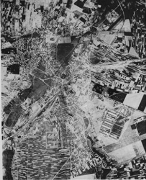 <p>Aerial view of the Lublin area showing the Majdanek camp. Lublin, Poland, 1943-1944.</p>