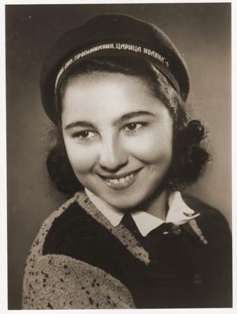 Portrait of Stella Nahmiyas in her school cap. Bitola, ca.