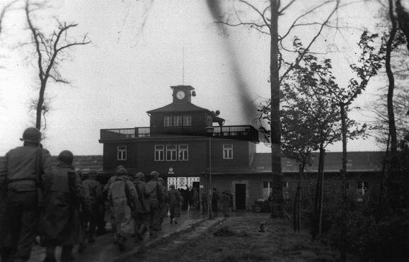 "<p>US soldiers enter the <a href=""/narrative/3956"">Buchenwald</a> concentration camp following the <a href=""/narrative/2317"">liberation</a> of the camp. Buchenwald, Germany, after April 11, 1945.</p>"