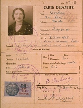"Identification card of Berthe Levy Cahen, issued by the French police in Lyon, stamped ""Juif"" (""Jew""). [LCID: 08747]"