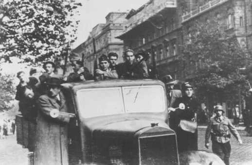 <p>Members of the Arrow Cross after taking power. Budapest, Hungary, October 1944.</p>