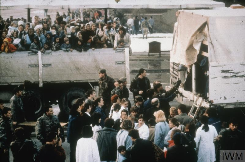 Refugees Arrive in Tuzla during the Bosnian War