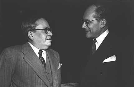 Raphael Lemkin (right) with Ambassador Amado of Brazil (left) before a plenary session of the General Assembly at which the Convention ... [LCID: lemkin1]