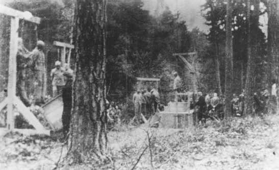 Execution of prisoners, most of them Jewish, in the forest near Buchenwald concentration camp. [LCID: 65351]
