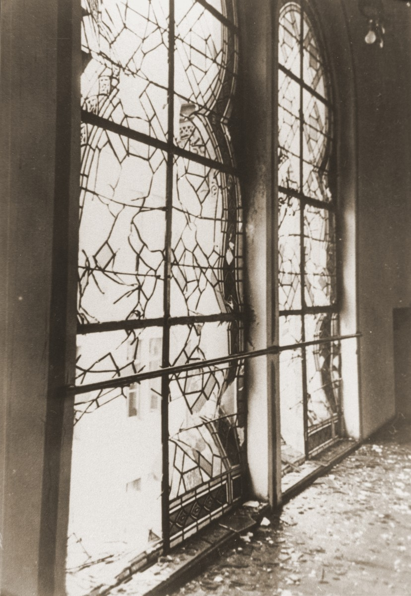 The shattered stained glass windows of the Zerrennerstrasse synagogue after its destruction on Kristallnacht. [LCID: 97572]