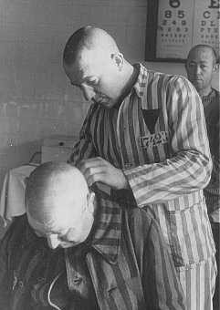 Shaving an inmate at the Sachsenhausen concentration camp. [LCID: 19376]