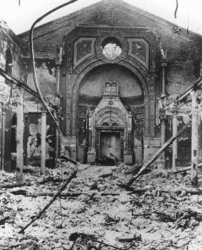 <p>Ruins of a synagogue destroyed during anti-Jewish rioting. Bucharest, Romania, January 1941.</p>