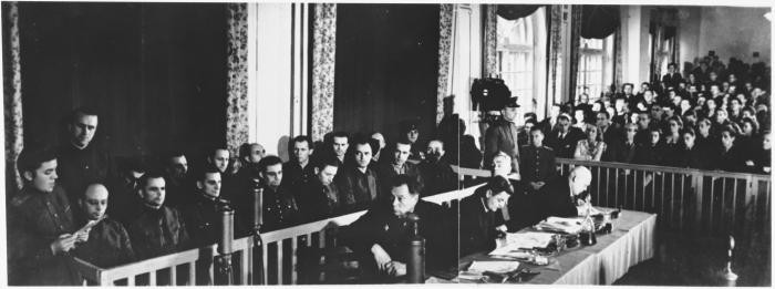 View of the courtroom at the Sachsenhausen concentration camp war crimes trial in Berlin.