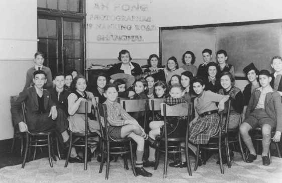 Music lesson in the SJYA (Shanghai Jewish Youth Association) school for Jewish refugee children, Shanghai, China, 1940.