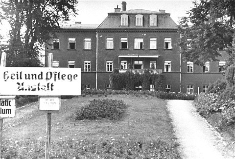 <p>Kaufbeuren euthanasia facility. Killings by lethal injection took place in Kaufbeuren. Germany, 1945.</p>