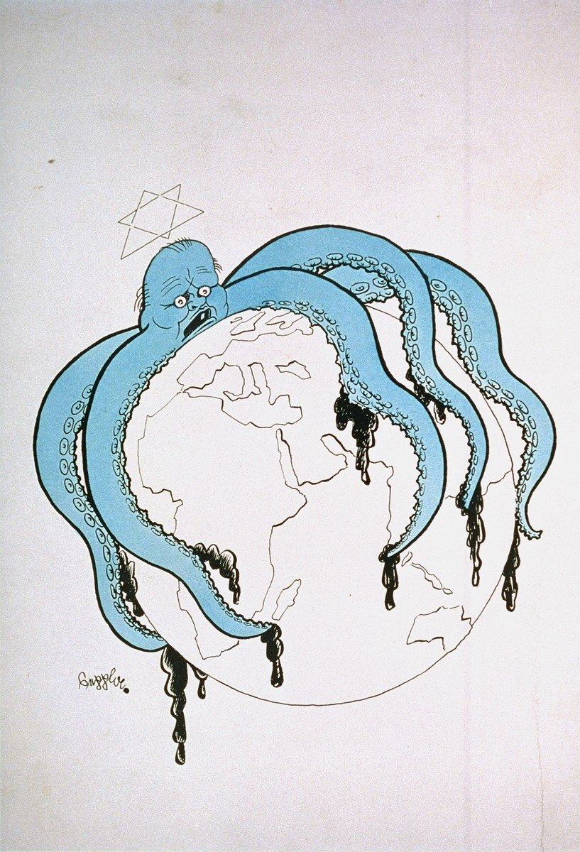 <p>Propaganda cartoon by Seppla (Josef Plank) warning of a worldwide Jewish conspiracy.  The cartoon depicts an octopus with a Star of David over its head and tentacles encompassing a globe. Germany, date uncertain.</p>
