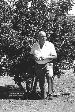 <p>At Yad Vashem, the Israeli national institution of Holocaust commemoration, Oskar Schindler stands next to the tree planted in honor of his rescue efforts. Jerusalem, Israel, 1970.</p>