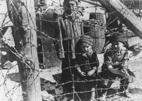 "<p>This photograph taken soon after liberation shows young camp survivors from Buchenwald's ""Children's Block 66""—a special barracks for children. Germany, after April 11, 1945.</p>"