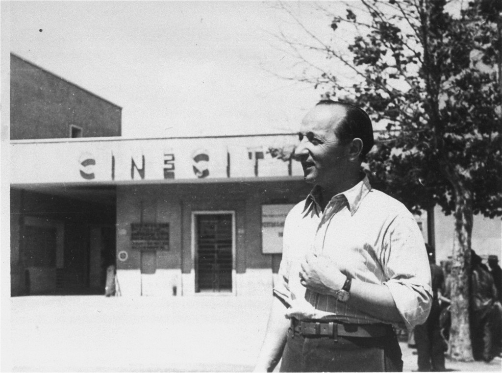 A Jewish displaced person in front of the Cinecittà camp
