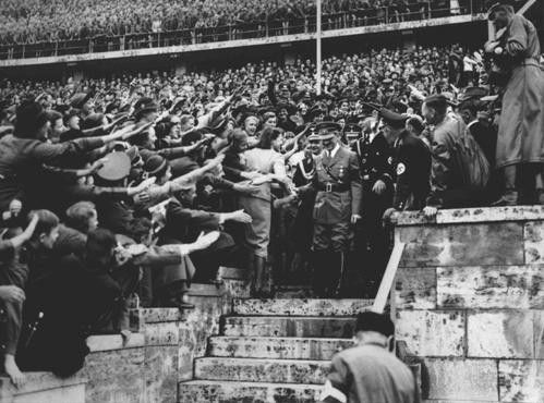 An enthusiastic crowd greets Adolf Hitler upon his arrival at the Olympic Stadium. [LCID: 14556]