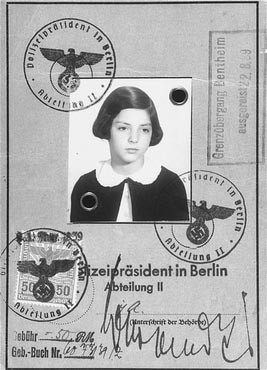 "<p>Passport issued to Gertrud Gerda Levy, who left Germany in August 1939 on a Children's Transport (<a href=""/narrative/4604"">Kindertransport</a>) to Great Britain. Berlin, Germany, August 23, 1939.</p>"