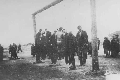 Members of the Lvov Jewish council are hanged by the Germans.