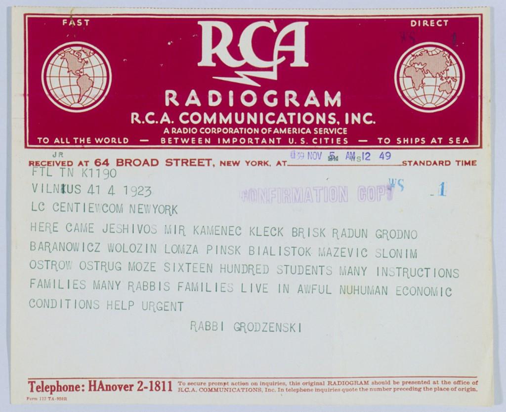 Another telegram asking for aid in Vilna [LCID: 20005v1l]