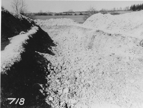 <p>View of a mass grave in the Ohrdruf concentration camp from which 2,000 corpses were removed for proper burial. Ohrdruf, Germany, between April 20 and 25, 1945.</p>