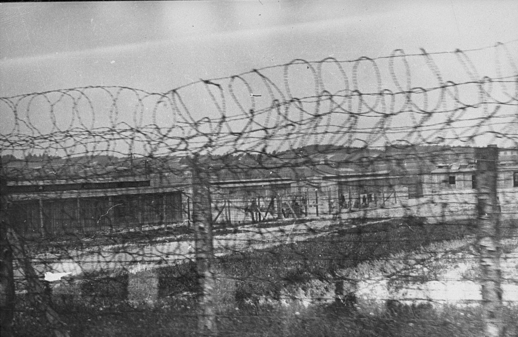 "<p>A section of barbed-wire fencing surrounding the <a href=""/narrative/4880"">Plaszow</a> camp. Plaszow, Poland, 1943-44.</p>"