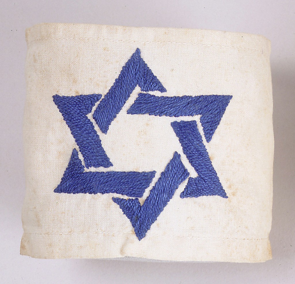 White armband with blue Star of David [LCID: 20004bfp]