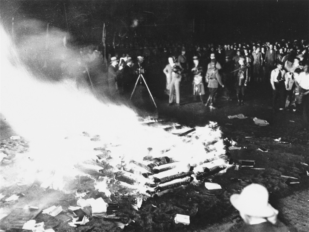 "<p>Public burning of ""un-German"" books in the Opernplatz (Opera Square). Berlin, Germany, May 10, 1933.</p>"