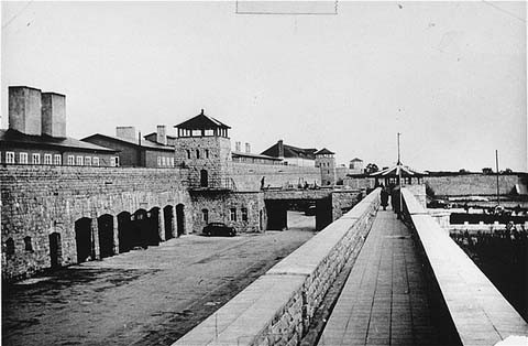 View of the Mauthausen concentration camp. This photograph was taken after the liberation of the camp. [LCID: 74453]