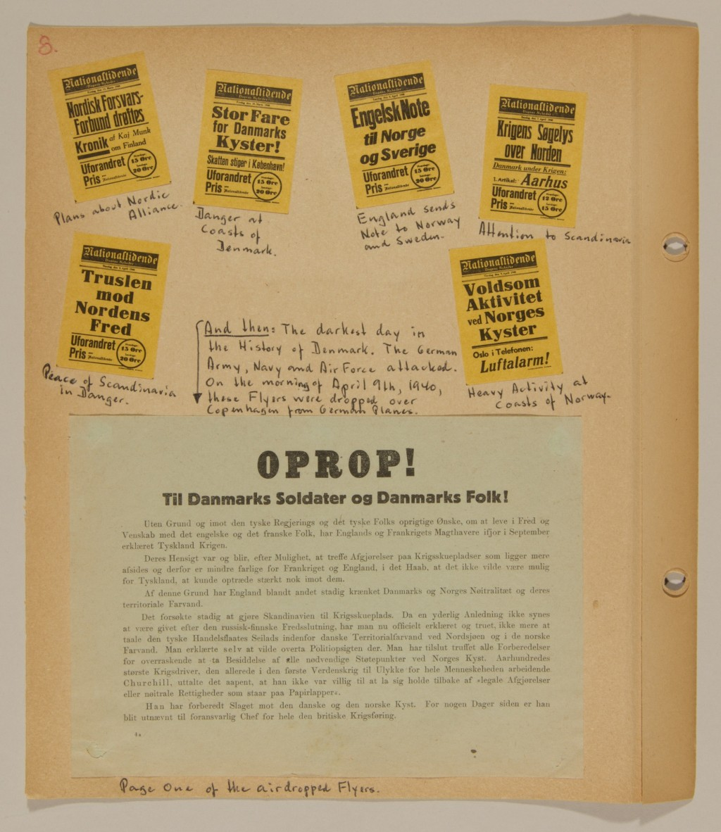 "<p>Page from volume 1 of a set of scrapbooks compiled by Bjorn Sibbern, a Danish policeman and resistance member, documenting the German occupation of <a href=""/narrative/4236"">Denmark</a>. Bjorn's wife Tove was also active in the Danish resistance. After World War II, Bjorn and Tove moved to Canada and later settled in California, where Bjorn compiled five scrapbooks dedicated to the Sibbern's daughter, Lisa. The books are fully annotated in English and contain photographs, documents and three-dimensional artifacts documenting all aspects of the German occupation of Denmark. This page contains a flyer air-dropped from a German airplane.</p>"
