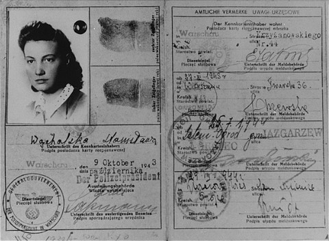 <p>False identification card which Vladka Meed had used from 1940–42 on the Aryan side of Warsaw, smuggling arms to Jewish fighters and helping Jews escape from the ghetto.</p>