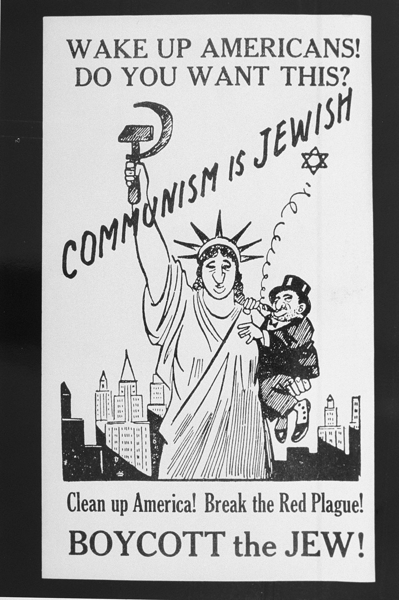 Antisemitic poster equating Jews with communism. United States, 1939. [LCID: 89415]