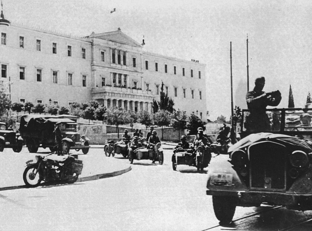 German troops in Athens following the invasion of the Balkans.