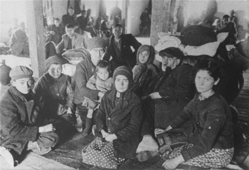 Jews from Macedonia who were rounded up and assembled in the Tobacco Monopoly transit camp before deportation to the Treblinka killing ... [LCID: 79737]