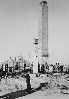 Post-liberation view of a crematorium at the Majdanek camp.