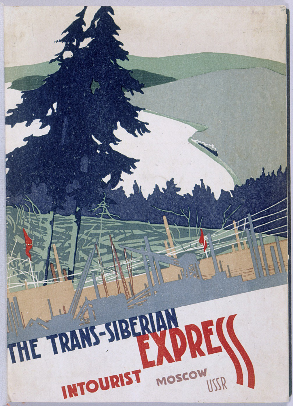 <p>Front cover of a brochure from the Soviet travel agency Intourist, describing the amenities of the Trans-Siberian Express. Despite their anxieties, most of the Jewish refugees traveling on the train felt like tourists. [From the USHMM special exhibition Flight and Rescue.]</p>