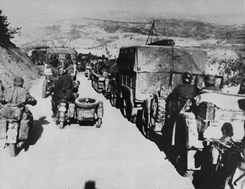 German troops during the invasion of Yugoslavia, which began on April 6, 1941. [LCID: 89837]