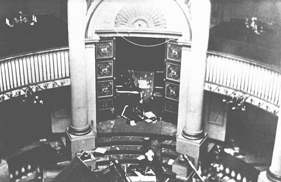 "The holy ark in the sanctuary of the Seitenstetten Street synagogue, demolished during Kristallnacht (the ""Night of Broken Glass""). [LCID: 4365b]"