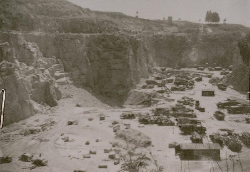 "<p>A view of the quarry at the <a href=""/narrative/3880/en"">Mauthausen</a> concentration camp, where prisoners were subjected to <a href=""/narrative/3384/en"">forced labor</a>. <a href=""/narrative/5815/en"">Austria</a>, 1938-1945.</p>"