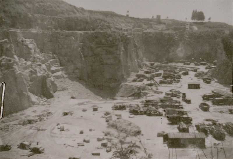 "<p>A view of the quarry at the <a href=""/narrative/3880"">Mauthausen</a> concentration camp, where prisoners were subjected to <a href=""/narrative/3384"">forced labor</a>. <a href=""/narrative/5815"">Austria</a>, 1938-1945.</p>"