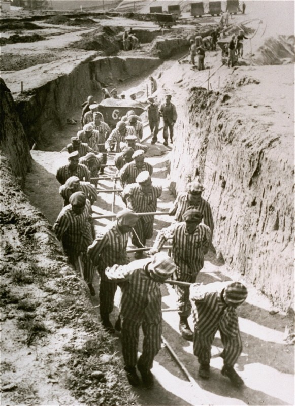 "<p>Prisoners at forced labor in the quarry of the <a href=""/narrative/11258"">Mauthausen</a> concentration camp. Austria, date uncertain.</p>"