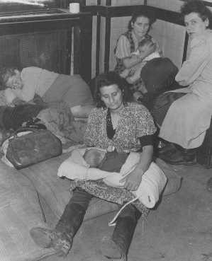 Jewish women and children who fled Poland as part of the Brihah, the postwar mass flight of Jews from eastern Europe, are sheltered in a reception center.