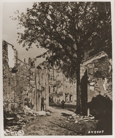 "<p>Ruins in <a href=""/narrative/11405"">Oradour-sur-Glane</a>, France. The town was destroyed by the SS on June 10, 1944. Photograph taken in September 1944.</p>"