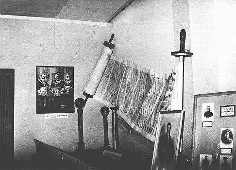 "A display, entitled ""British Freemasonry,"" at an antisemitic and anti-Masonic exhibition in Berlin: the juxtaposition of a Torah ... [LCID: 91537]"