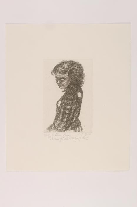 "Print of ""Portrait of a Young Girl with Two Yellow Badges"" by Esther Lurie"