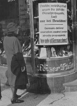 <p>Sign on a Jewish-owned store during the boycott. Berlin, Germany, April 1, 1933.</p>