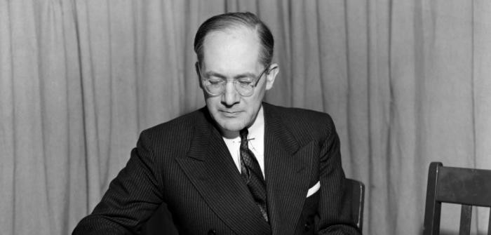 Raphael Lemkin prepares for a talk on UN radio, probably between 1947 and 1951.