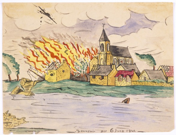 "<p>Teenager Simon Jeruchim learned of the Allied invasion of German-occupied France (<a href=""/narrative/2899"">D-Day</a>) on a shortwave radio. He painted a watercolor depiction of the bombing and burning of a town situated on a river. He titled the piece ""Memory of June 6, 1944.""</p>