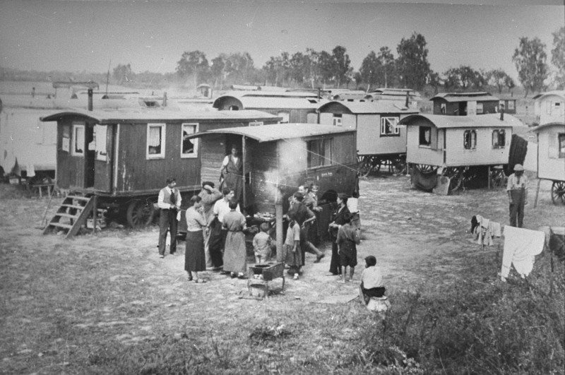 <p>Marzahn, the first internment camp for Roma (Gypsies) in the Third Reich. Germany, date uncertain.</p>