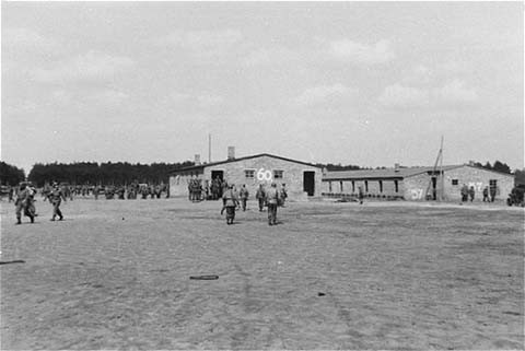 "<p>On May 2, 1945, the <a href=""/narrative/7926/en"">8th Infantry Division</a> and the <a href=""/narrative/7977/en"">82nd Airborne Division</a> encountered the Wöbbelin concentration camp. This photograph shows US troops in the Wöbbelin camp. Germany, May 4–6, 1945.</p>"